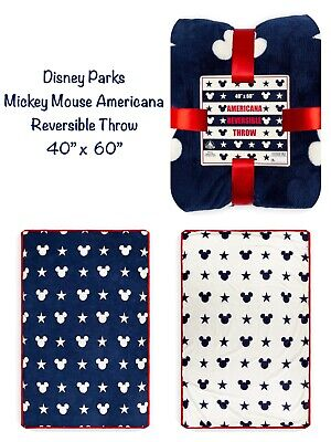 "NWT! Disney Parks Mickey Mouse Americana Reversible Throw 40"" x 60"" SOLD OUT"