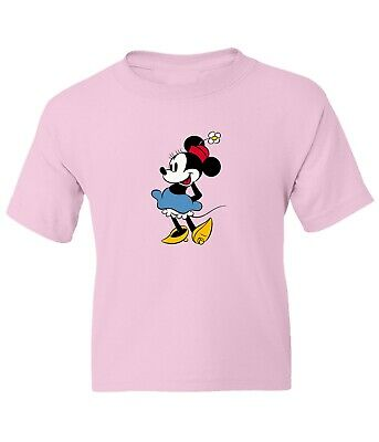 Disney Classic Minnie Mouse Kids Girls Boys Youth Unisex Crew Neck Short T-Shirt