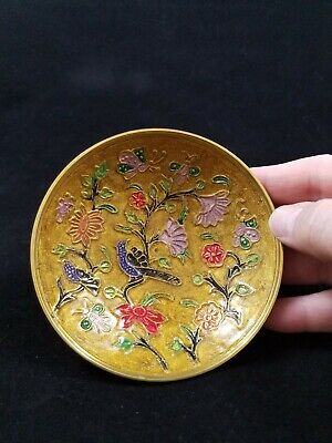 Vintage Hand Painted Brass Enameled Small Bowl India