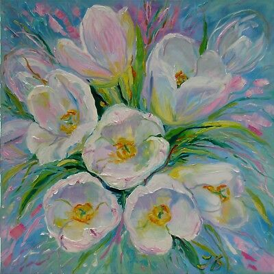 "WHITE TULIPS 24X24"" Hand Painted Garden Flowers Original Oil Painting by Bykova"