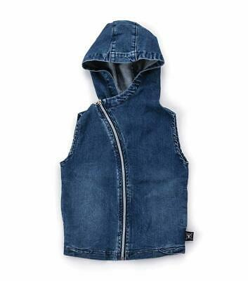 Nununu Size 4-5Y Unisex Sleeveless Denim Hooded Vest 100% Cotton