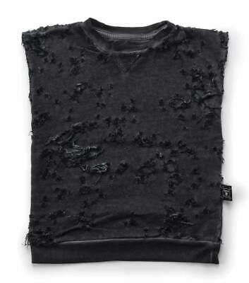 Nununu Size 4-5Y Unisex Charcoal Distressed Sleeveless Pullover 100% Cotton
