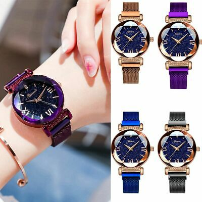 Lady Watch Starry Sky Diamond Dial Women Bracelet Watches Magnetic Stainless AU