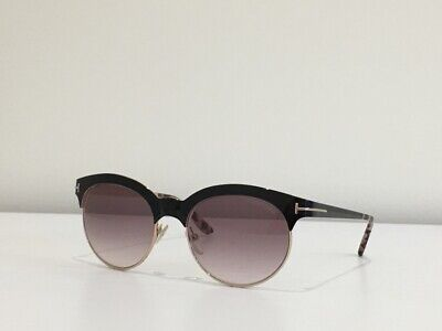 Tom Ford Oval Sunglasses TF438 Angela 01F Black//Gold//Havana FT0438