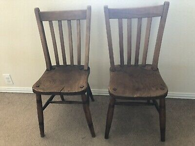 Antique Pair Slat Back Farm Dining Wooden Schoolhouse Chairs Old Vtg Farmhouse