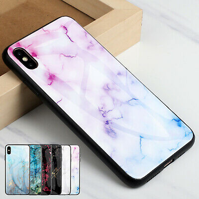 dfdad4fa930 For Apple iPhone XS Max XR 7 8 Plus Case Hybrid Marble Tempered Glass Back  Cover