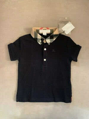 Burberry Baby William Check Collar Short Sleeve Polo Shirt Navy Sz 9 Months NWT!