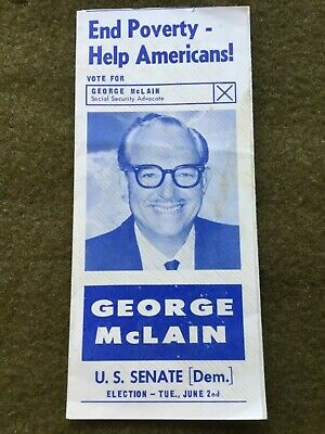 1964 California US Senate Seat Election GEORGE MCLAIN Brochure Social Organizer!