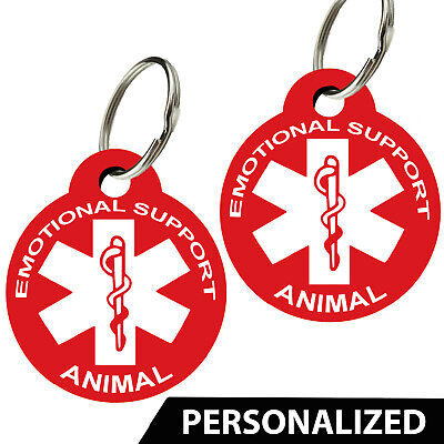 ESA -Emotional Support Animal ID Tags. Personalized, Premium Aluminum (Set of 2)
