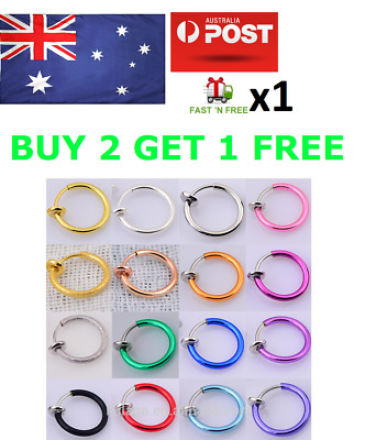 Fake  Piercing Nose Ring Hoop Ring Spring Clip On Ear Nose Lip Septum Body