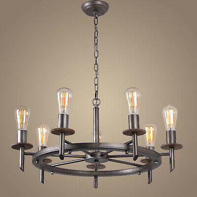7-Light Rustic Round Chandelier French Country Vintage Hanging Light Fixture