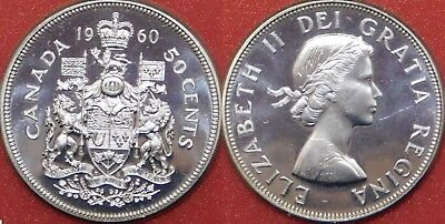 Proof Like 1960 Canada Silver 50 Cents From Mint's Set