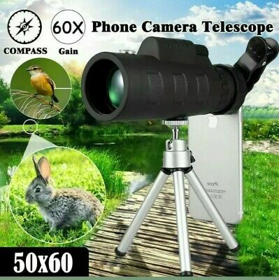 Portable HD 50x60 Optical Zoom Monocular Telescope Day/Night Vision+Clip+Tripod