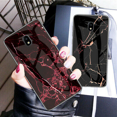 For Samsung Galaxy J7 J5 J3 J2 Pro 2017 Marble Pattern Tempered Glass Case Cover