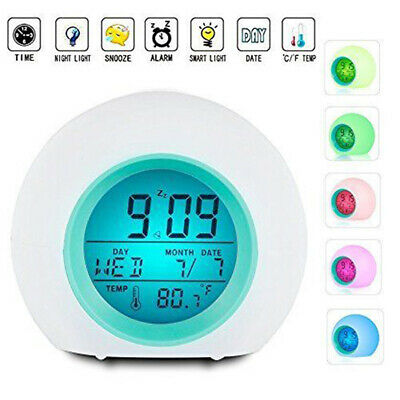 Wake Up Light Clock Kids Child Toddler Adults 7 Color Changing Alarm Clock Decor
