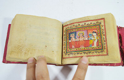 MID 19th C. INDIA INDIAN MANUSCRIPT WITH 5 MINIATURE PAINTING BOOK