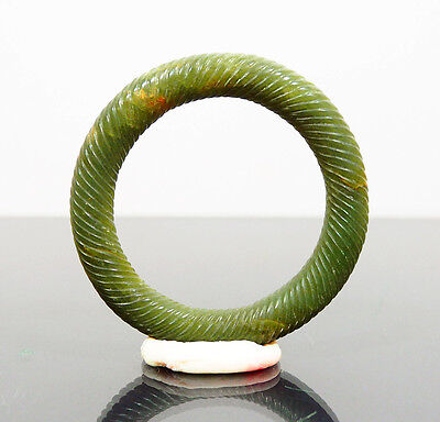 Antique Ming Dynasty Chinese Carved Jade Bangle Bracelet Natural Jade Jadeite