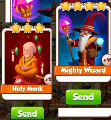 Coin Master Cards Holy Monk +Mighty Wizard