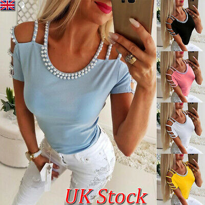 Womens Pearl Cold Shoulder Short Sleeve T-Shirt Ladies Sexy Casual Skinny Top UK