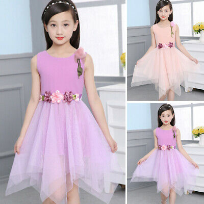 2019 NEW FLOWER Kid Baby Girl Lace Dress Party Bridesmaid
