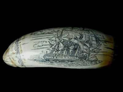 "Ghost Ship ""The Brandenberg"" + Royal Coat of Arms Faux Scrimshaw Museum Quality"