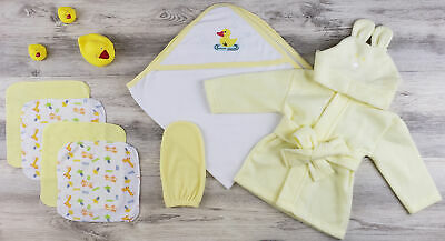 Bambini Hooded Towel, Wash Clothes, Bath Mitten and Robe - Newborn