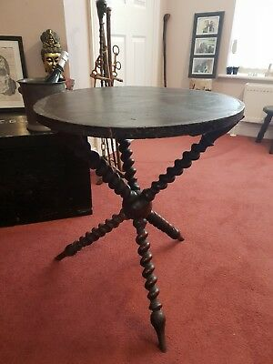 Antique Victorian Country House Turned Bobbin Gypsy Table Ebonised Top Patina
