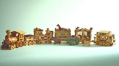 Woodworking plans.  Build a wood circus train from patterns.  Carnival animals