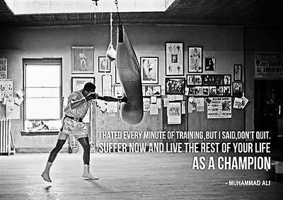 MUHAMMAD ALI CHAMPION QUOTE POSTER Boxing Gym Photo Print Art Poster A3 A4