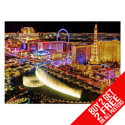 LAS VEGAS BELLAGIO FOUNTAINS POSTER A3 A4 SIZE BB1 PRINT BUY 2 GET ANY 2 FREE