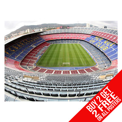 Barcelona Nou Camp Stadium Poster Art Print A4 A3 Size - Buy 2 Get Any 2 Free