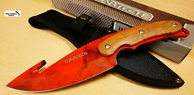 """11"""" Hunting Knife w/ Red Blade and Sheath"""