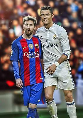 MESSI AND RONALDO Real Madrid Barcelona Barca Photo Print Poster A3 A4