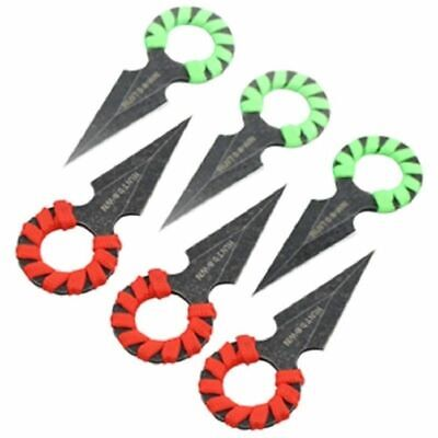 NEW Hunt Down 6 Pc Tactical Throwing Knife Set Red/ Green Zombie Fixed Blade