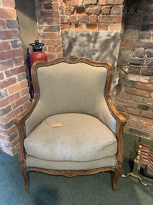 Antique French Carved Walnut Wing Back Armchair