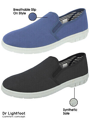 Mens Dr Lightfoot Canvas Slip On Memory Foam Plimsoll Casual Espadrille Trainers