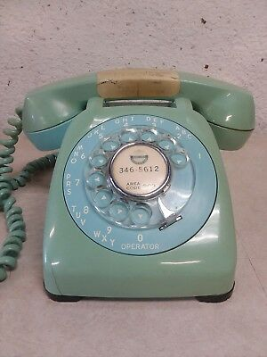 Vintage Aqua Teal Green Automatic Electric Rotary Corded Telephone
