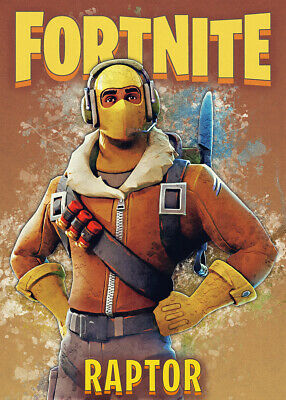 Unofficial Glossy Game Posters, Wall Art, Battle Royal, Raptor, Fortnite