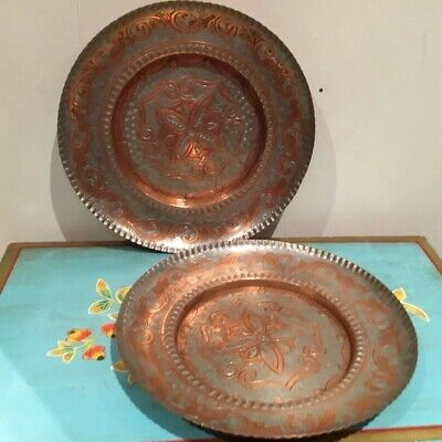 Lovely Pair Of Vintage  Tone  & Copper Decorative  Wall Plates Made In Greece