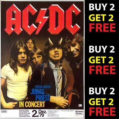 ACDC V1 VINTAGE BEST BAND ROCK ALTERNATIVE CONCERT MUSIC POSTERS A4 300gsm PRINT