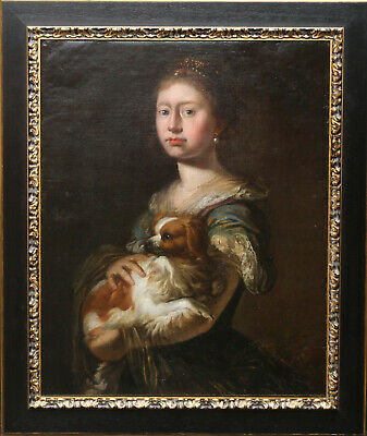 Continental School 17Th Century Portrait Of Lady With King Charles Spaniel Dog