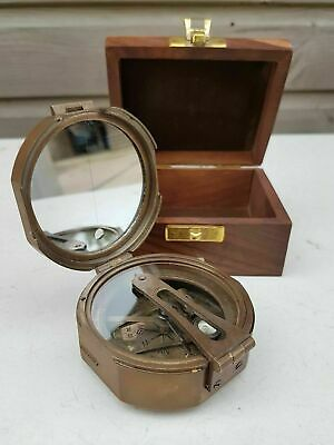 "Stanley London Nautical 3"" Brass Brunton Compass With Wooden box  Antique Finish"