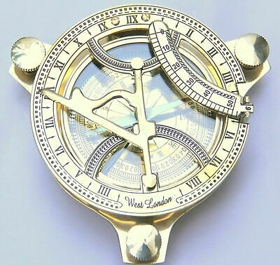 Brass Sundial Compass 4-inch Beautiful Antique Look Sun Clock