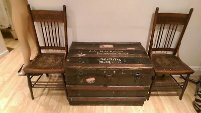 ANTIQUE LATE 19th CENTURY GREEN HESSIAN COVERED METAL BOUND SHIPPING TRUNK
