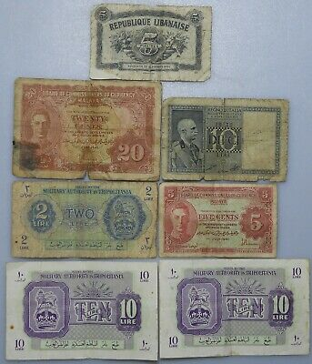 Military Authority in Tripolitania 2 x 10 lire banknotes & 5 others