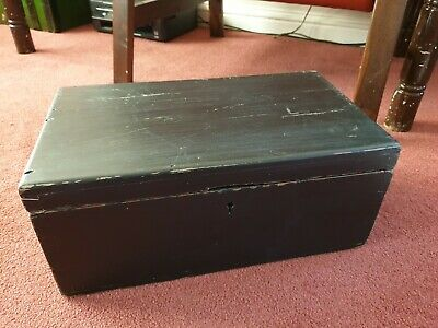 ANTIQUE LATE 19thC EBONISED PITCH PINE WOODEN BOX SCIENTIFIC INSTRUMENT CASE