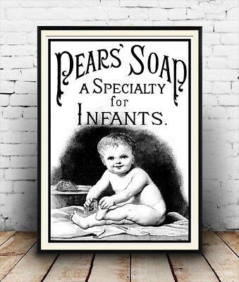 Pears for infants Wall art. Reproduction poster Vintage soap advert