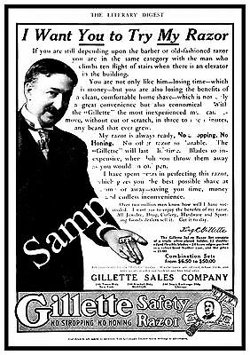 Gillette safety razor , Vintage Shaving advert Reproduction poster, Wall art.
