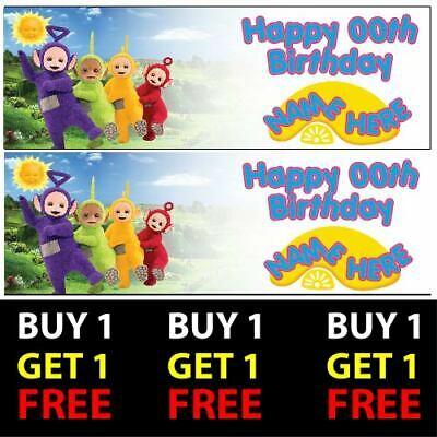 Buy 1 Get 1 Free Personalised Teletubbies Birthday Banners 100gsm Kids Party
