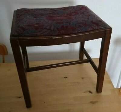 Charming Wooden Piano Stool Embroidered Upcycle Wood Oak Seat 43Cms